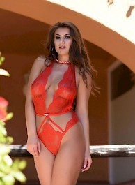 Sarah McDonald In Sexy Red Ling...