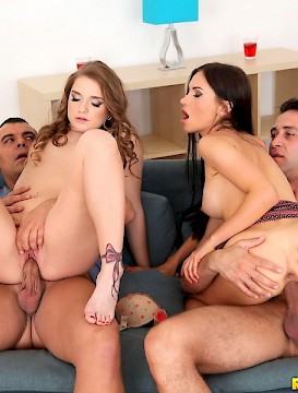 gangbang Sasha Rose and Sofi Goldfinger team up for a hot sex party