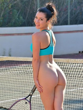 sexy babe Carrie gets hot playing tennis and takes off her clothes to cool off