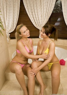 lesbians Marketa and Simona get each other off in their bikinis