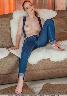 cute girl Nessie strips out of her jeans for you