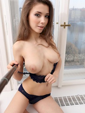 pretty babe Mila Azul gets naked with a selfie stick