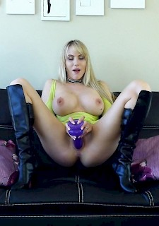 big tits babe Katie Banks gets fucked hard in her boots