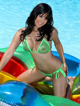 Leone Green in pool shows her big boobs