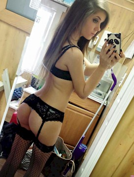 GF Gorgeous teen babe self shooting in sexy lingerie