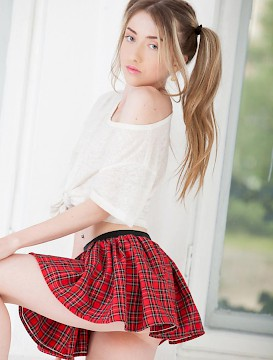pretty schoolgirl Lada shows you what's up her skirt