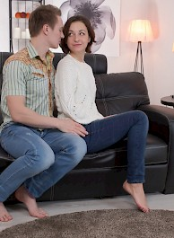 Young Brunette Liona Bee Gets Pounded On The Couch