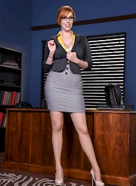 Busty Secretary Lauren Phillips Stripping On A Desk