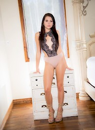 Petite Brunette Strip Off Her Sexy Bodysuit