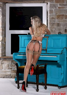 pretty girl Lexi Lowe strips and teases in her lingerie at the piano
