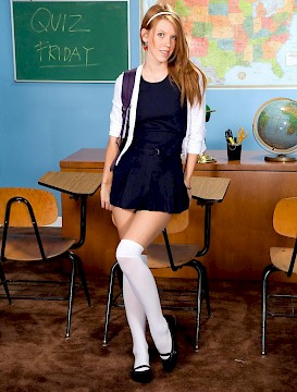sexy schoolgirl Pepper Kester strips in the classroom for you
