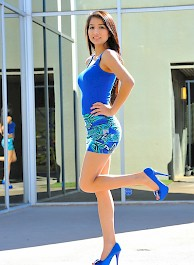 Megan in Blue Dress and High Heels