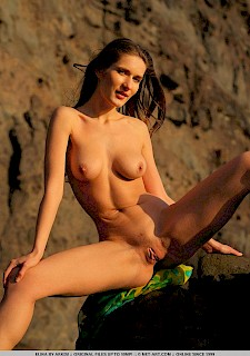 Brunette sexy babe Elina poses nude on the beach
