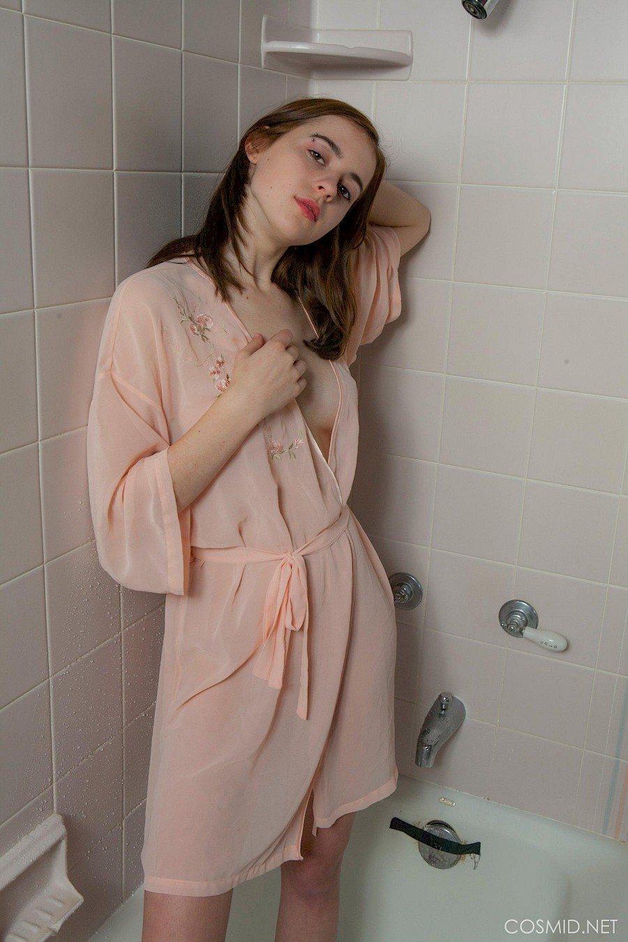 Taking shower sexy busty brunette a
