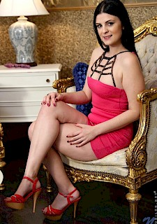 sexy Brunette Alice Nice strips out of her pink dress to get off