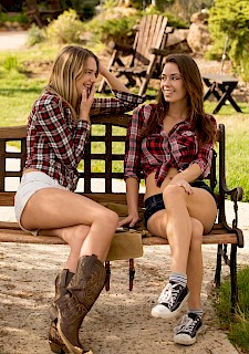 Hot lesbians country girls Kenna and Madi pleasure each other on the farm