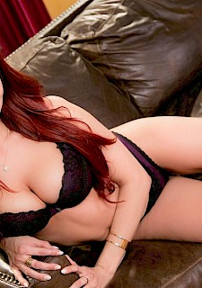 Redhead pretty girl Jayden Cole strips down to her high-heels