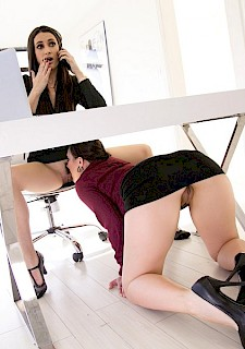 hot Georgia babe Jones starts her new receptionist job and has to prove her qualifications