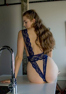 sexyHolly Marie strips out of her blue teddy