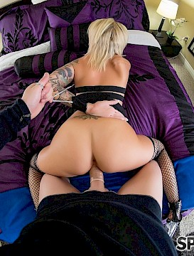 Blonde sexy girl Daisy Monroe gives some pov sex in her lingerie