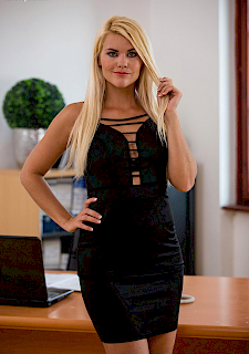blonde Izzy Delphine masturbates in office
