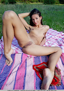 brunette Kenya has nude picnic outside