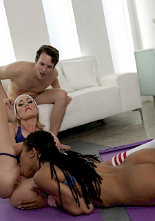 hot babes Brett Rossi and Kira Noir have threesome on yoga mat