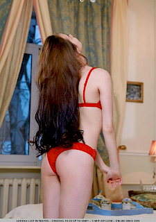 Lorena Lust in sexy red lingerie
