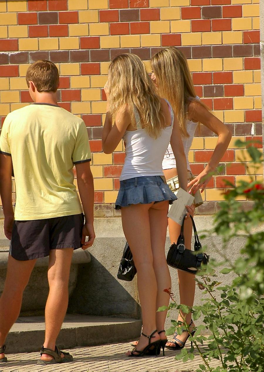 Teens upskirt Pervert caught